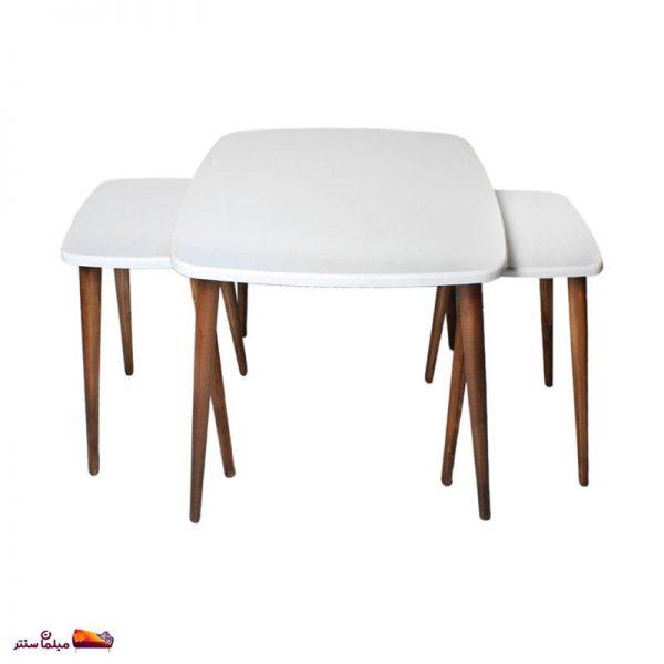 میز جلو مبلی مربع منحنی سفید وودیمو A20BR