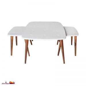 میز جلو مبلی مربع منحنی طرح دار سفید وودیمو