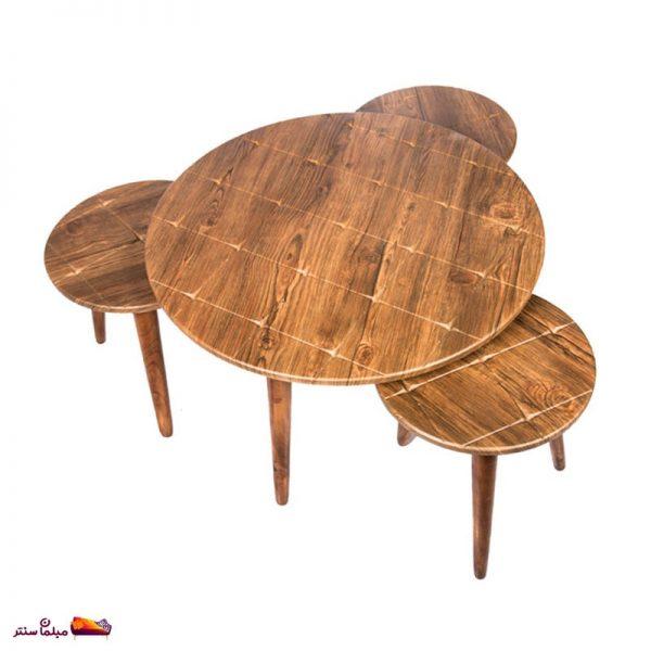 میز جلو مبلی گرد طرح دار آنتیک طلایی وودیمو A2AN