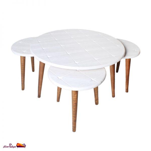 میز جلو مبلی گرد طرح دار سفید وودیمو A2WH