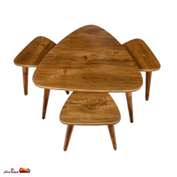 میز جلو مبلی مثلثی آنتیک طلایی وودیمو A3AN