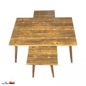 میز جلو مبلی مستطیل طرح دار آنتیک طلایی وودیمو