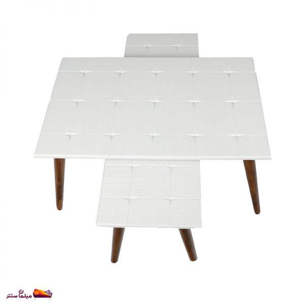 میز جلو مبلی مستطیل طرح دار سفید وودیمو A6BR