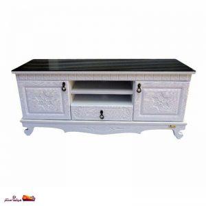 میز تلویزیون ۱۲۰ سانت دو درب کشو دار سفید پدیده
