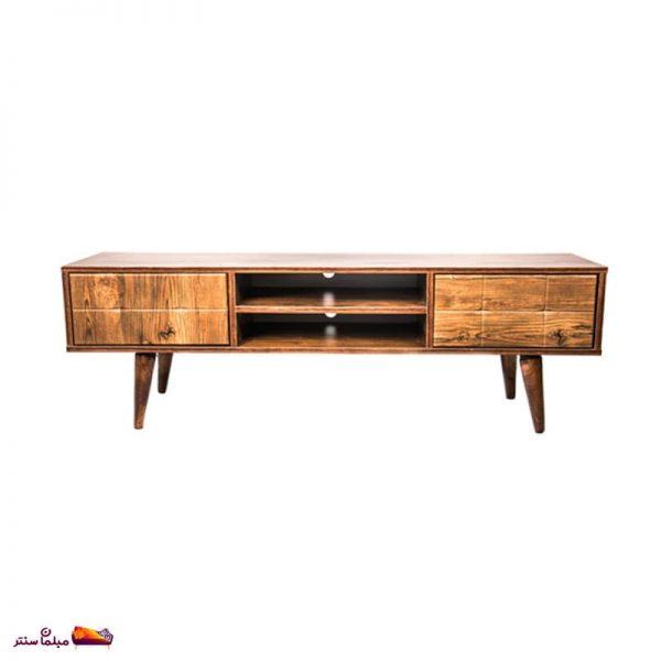 میز تلویزیون ۱۲۰ سانت تک کشو کمد دار آنتیک طلایی B155-A