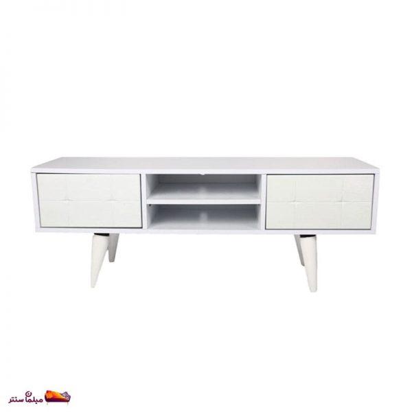 میز تلویزیون ۱۲۰ سانت تک کشو کمد دار سفید B155-W