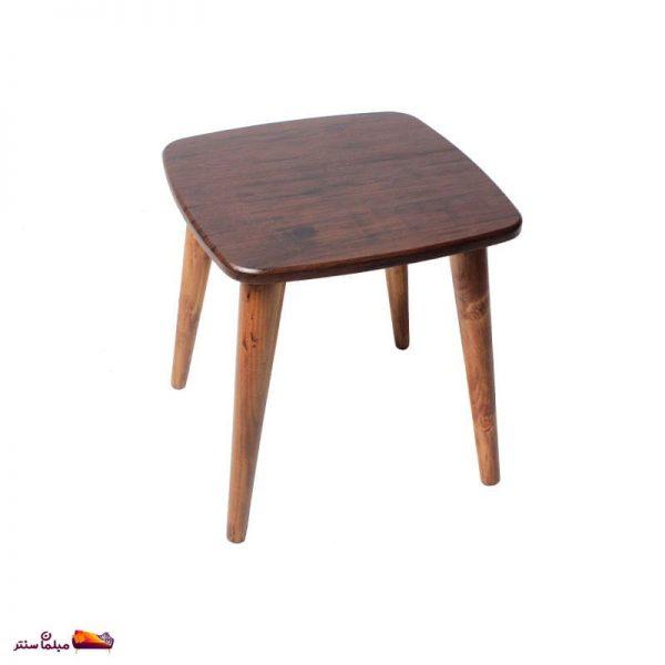 میز عسلی مربع منحنی قهوه ای ونگه وودیمو D20BR