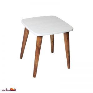 میز عسلی مربع منحنی سفید وودیمو
