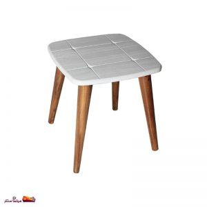 میز عسلی مربع منحنی طرح دار سفید وودیمو